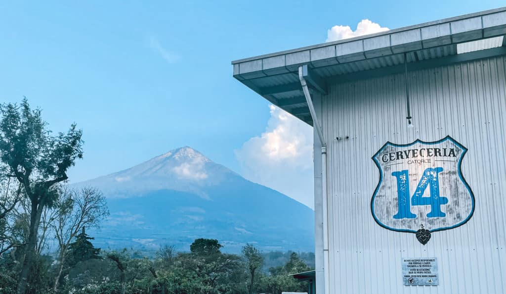 Front Entrance Of Cerveceria 14 With Volcan Agua In The Background