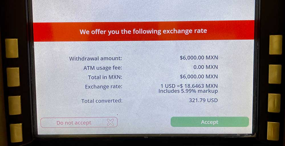 Getting Money In Mexico - ATM Exchange Rate Scam