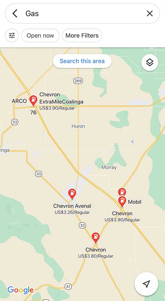 Reducing Van Life Expenses - Google Maps Gas Search Results