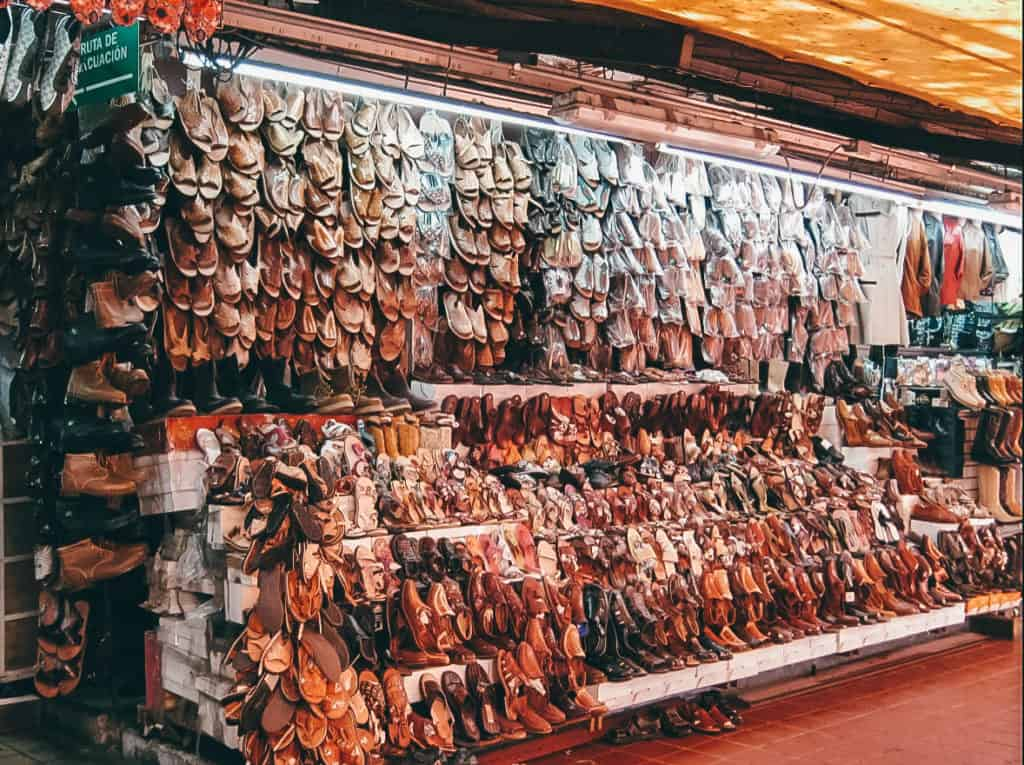 Shopping In Mexico - Shoe Stall In Market