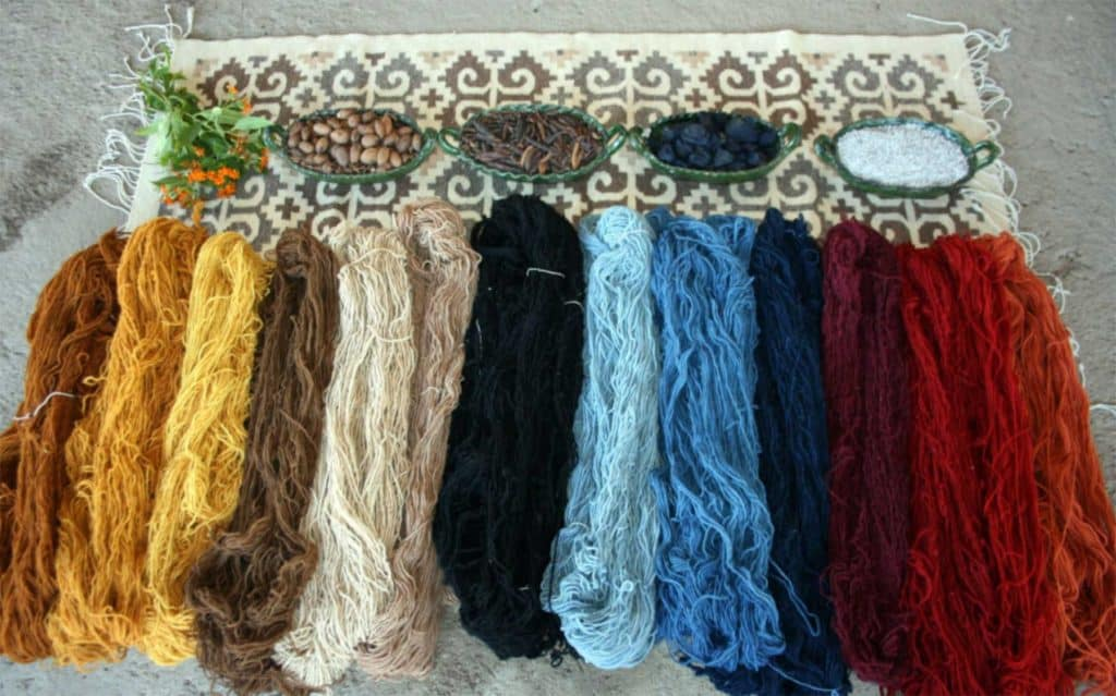 Examples of natural color dyes used to make Mexican rugs from Oaxaca