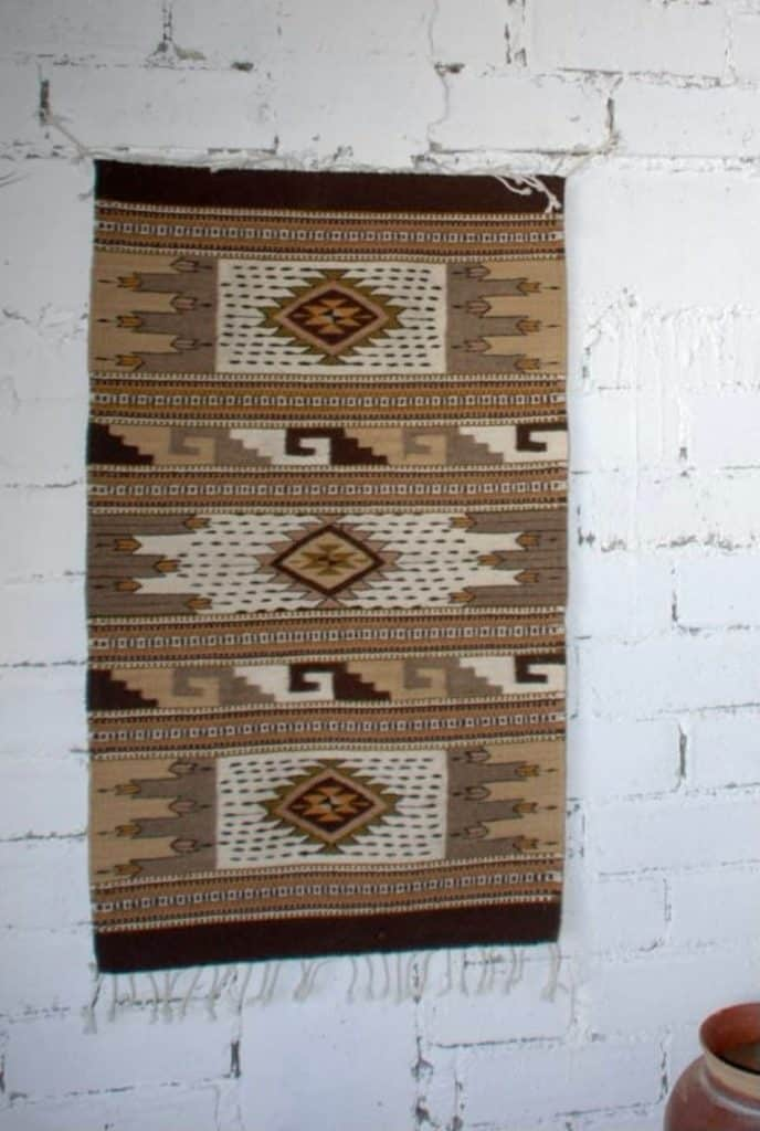 Natural color wool rug from Oaxaca, Mexico