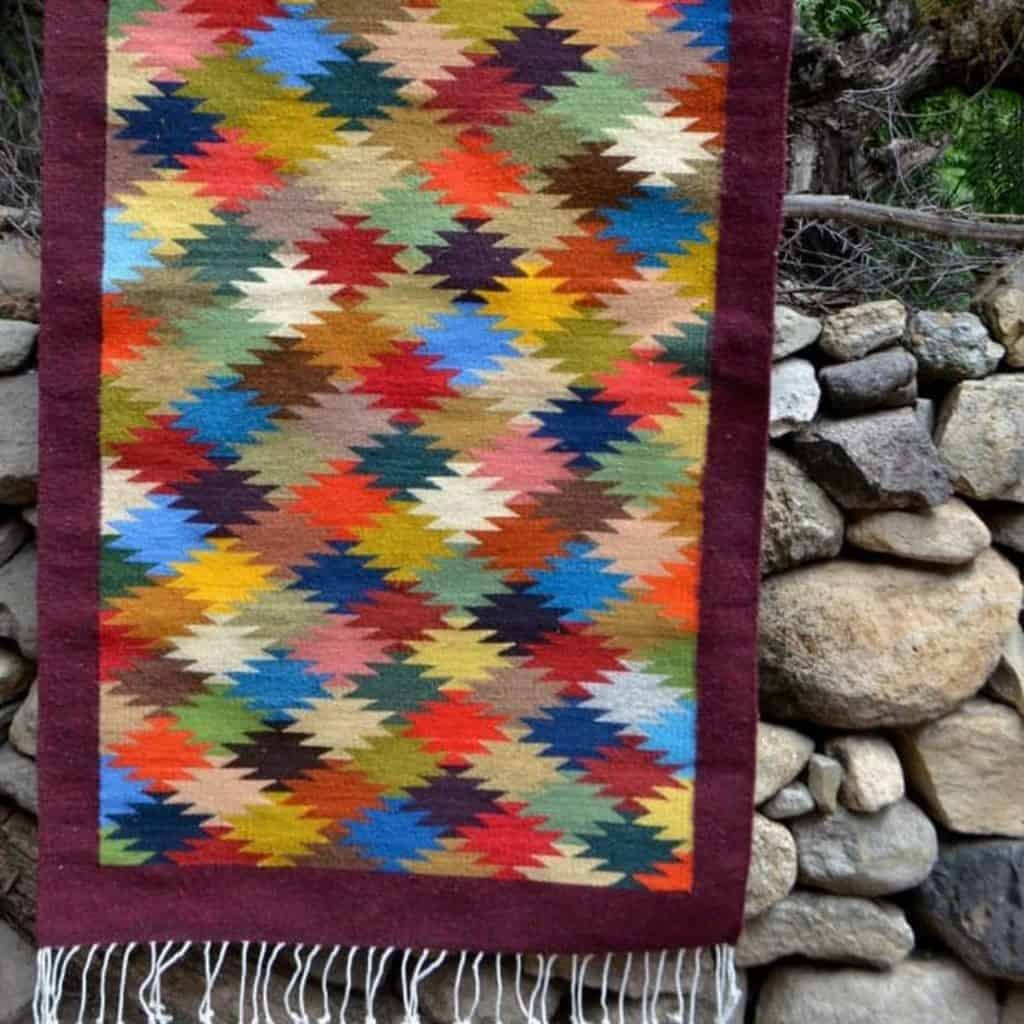Multi Colored Zapotec Mexican wool rug from Oaxaca
