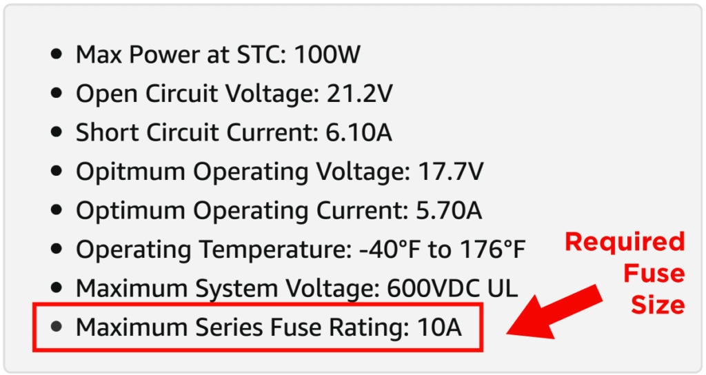 How To Determine Solar Fuse Size From Max Series Fuse Rating