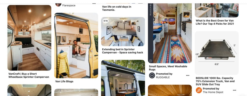 Pinterest search with specific keywords for campervan interior