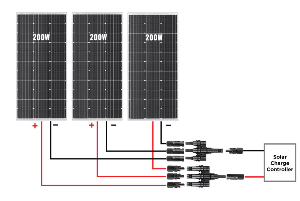 Three Solar Panels Connected In Parallel, Not Series
