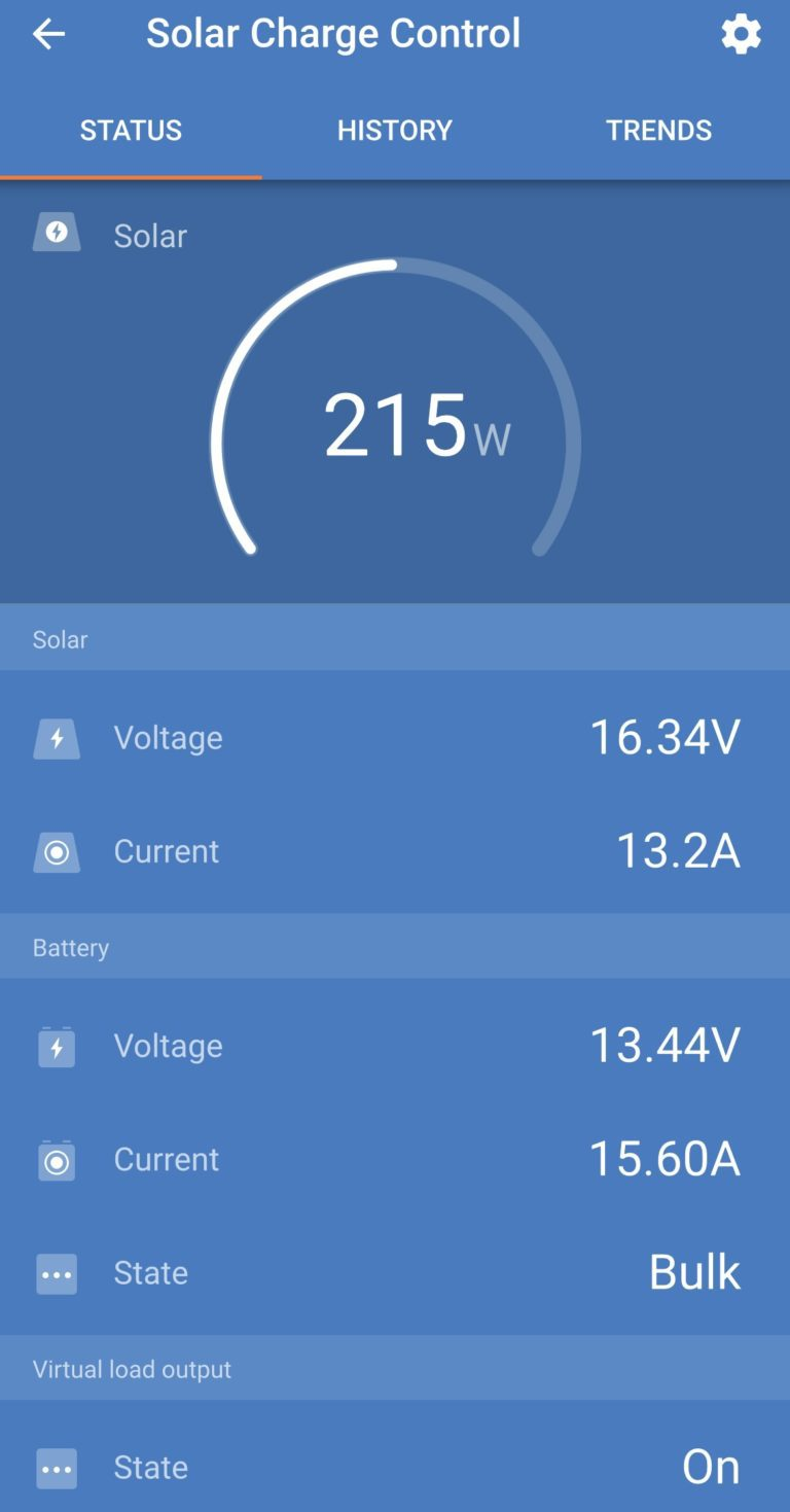 Solar Charge Controller Energy Harvesting Data On Smartphone